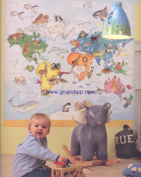 Mural infantil mapa mundi con animales boutique del - Papel pintado mapamundi ...
