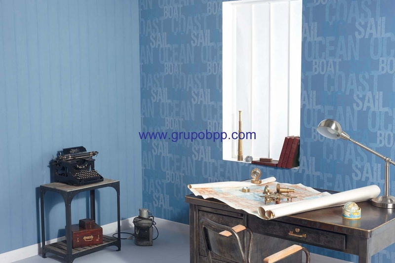Papel pintado vin lico tablas cuarteadas azules boutique for Boutique del papel pintado
