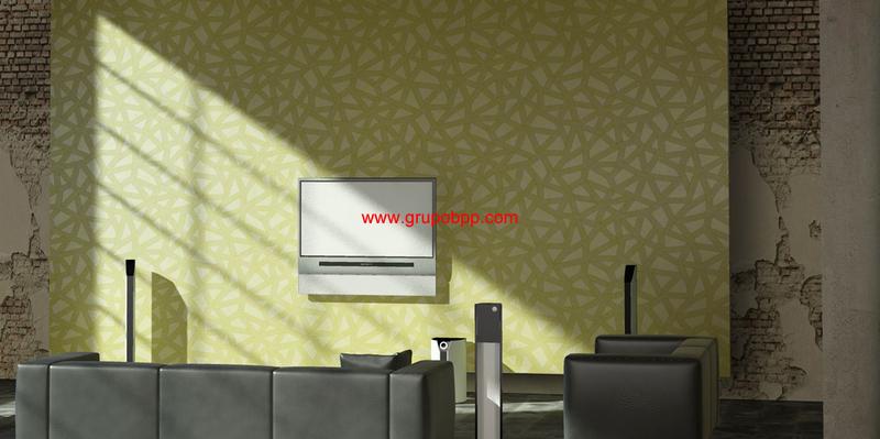 Papel pintado lineas abstracto tonos verdes boutique del for Papel pintado tonos verdes