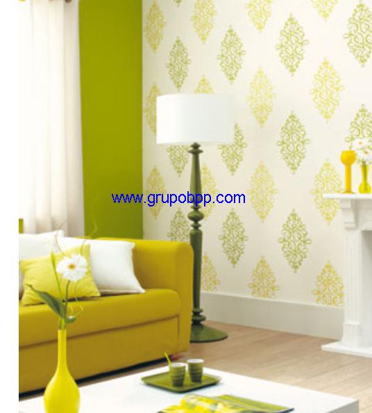 Papel pintado espumado fondo blanco con garabatos amarillo for Papel pintado en blanco y plata