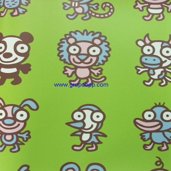 Papel pintado vin lico animales kukuxumusu fondo verde - Papel pintado animales ...