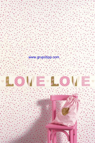 Papel pintado juvenil flores rosas fondo blanco boutique for Papel pintado juvenil