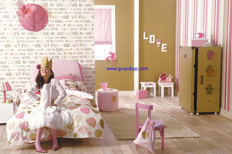Papel pintado juvenil letras fondo blanco boutique del - Papeles infantiles para paredes ...