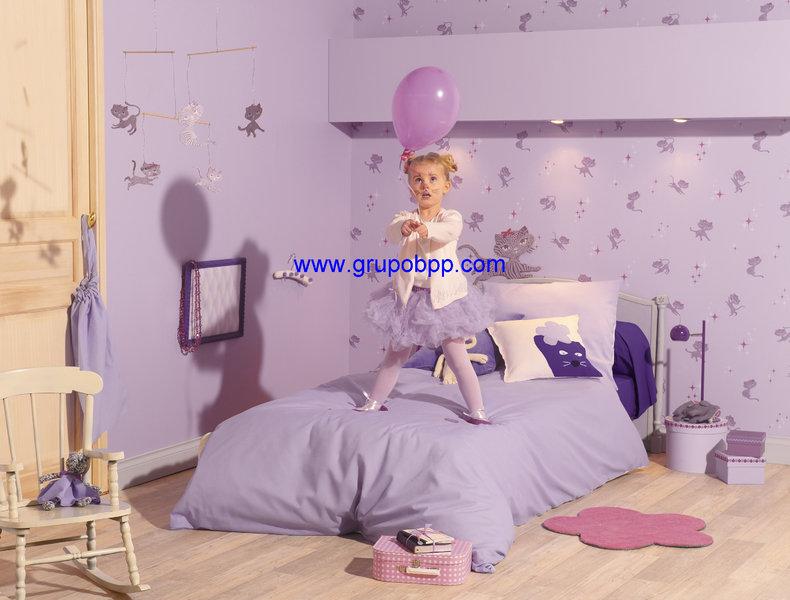 Papel pintado juvenil gatita fondo lila boutique del - Papel pintado juvenil pared ...