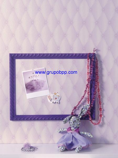 Papel pintado juvenil efecto acolchado lila claro for Boutique del papel pintado