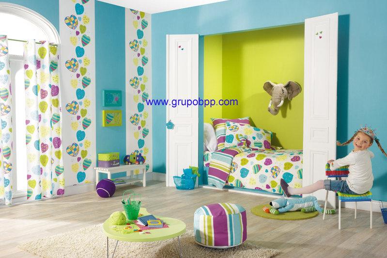 Papel pintado juvenil corazones tonos rosa y naranja fondo - Papel para habitaciones infantiles ...