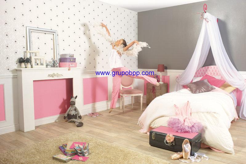 Papel pintado juvenil bailarinas morado fondo blanco for Papel pintado rosa y gris