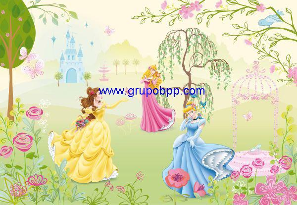 Mural disney princesas jard n boutique del papel pintado for Papel pintado disney