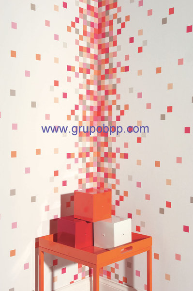 Papel pintado vin lico columna cuadros tonos rojo naranja for Papel pintado tonos naranjas