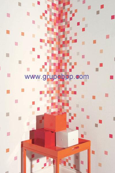 Papel pintado vin lico columna cuadros tonos rojo naranja for Papel pintado rojo