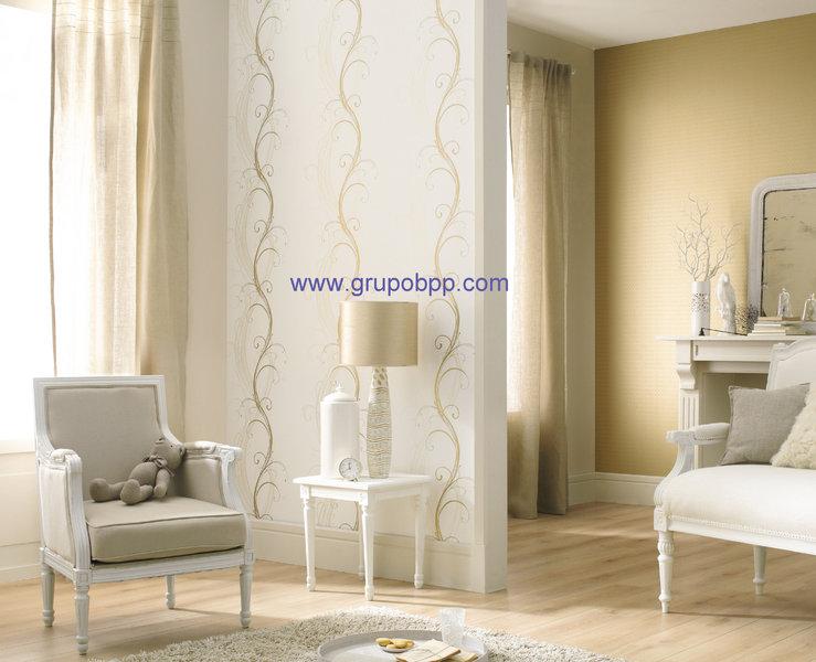Papel pintado fondo blanco trival vertical en oro for Vinilo blanco pared