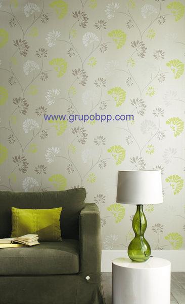 Papel pintado fondo crema nacarado flores tonos marron y for Papel pintado tonos beige