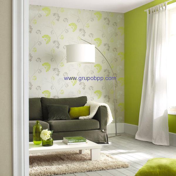 Papel pintado fondo gris claro nacarado flores gris y for Papel pintado verde