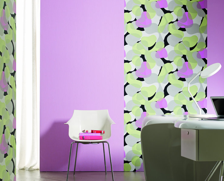Papel pintado manchas acuarela tonos verde pastel gris y for Papel pintado tonos verdes
