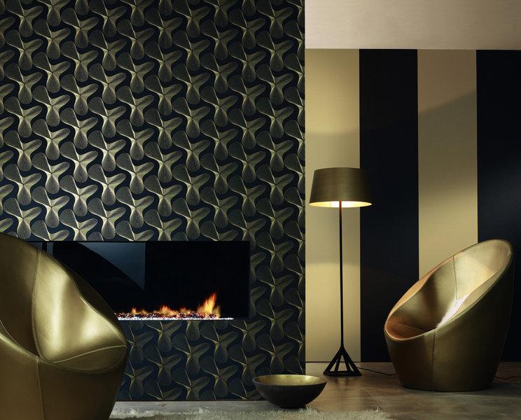 Papel pintado fondo negro figuras en oro boutique del for Boutique del papel pintado