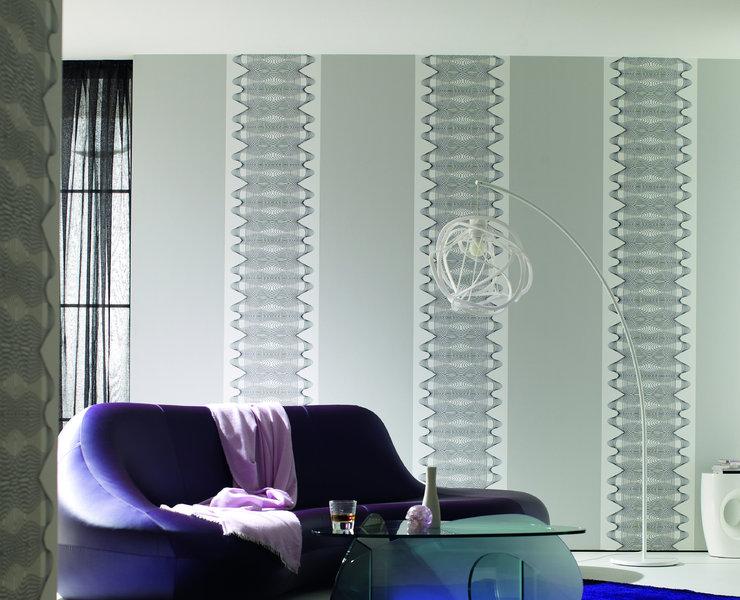 Papel pintado columna tridimensional azul y fucsia fondo for Papel pintado fucsia
