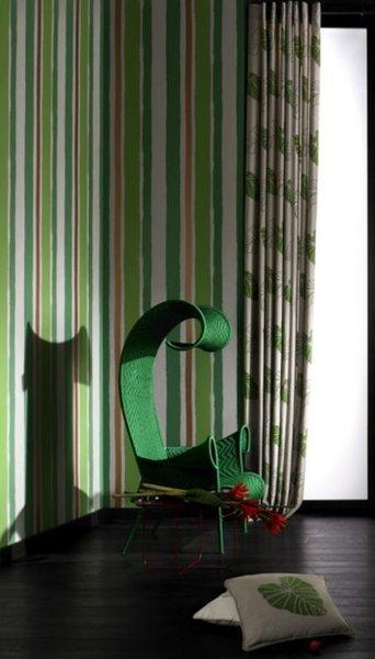 Papel pintado rayas diferentes texturas tonos verde ocre for Papel pintado tonos verdes
