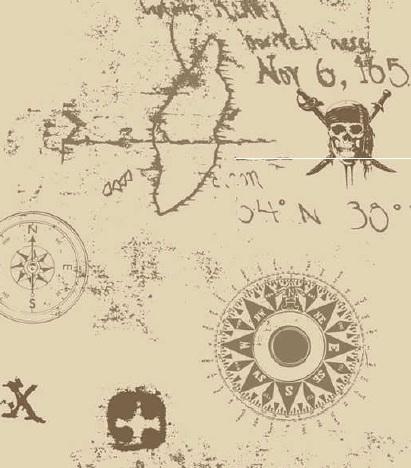 Papel pintado mapa piratas del caribe tonos beige - Papel pintado mapa ...