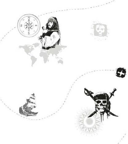 Papel pintado piratas del caribe blanco y negro boutique - Papel pintado piratas ...