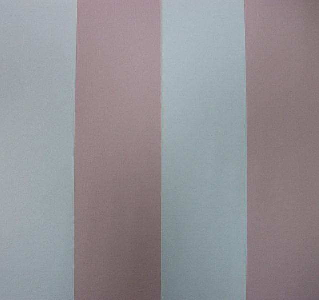 Papel pintado rayas 6 5 cm rosa y blanco boutique del - Papel pintado rayas gris y blanco ...