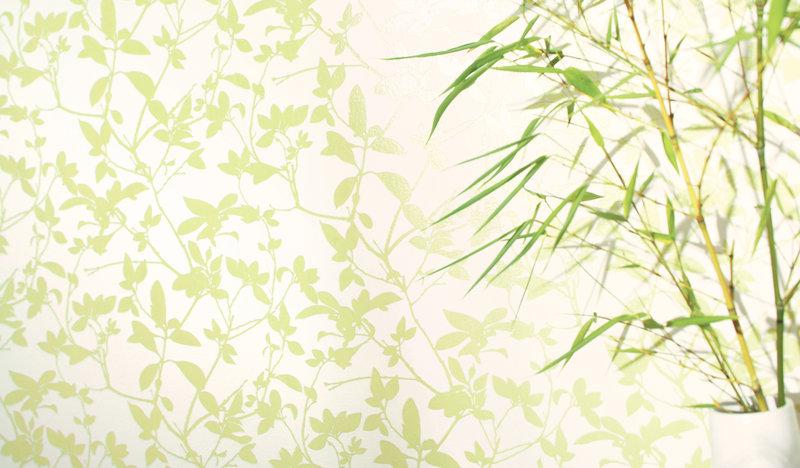 Papel pintado entramado floral verde boutique del papel - Papel pintado verde ...