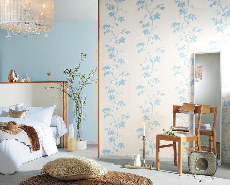 Papel pintado hilo floral azul boutique del papel pintado for Papel pintado azul