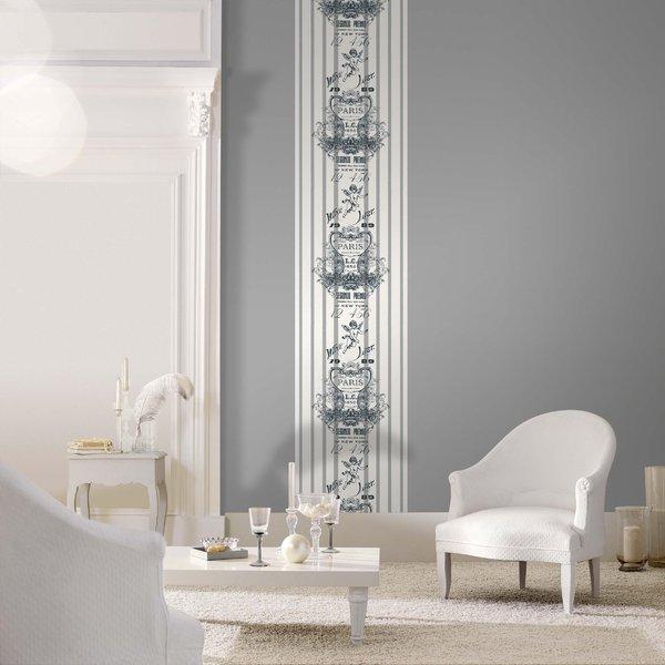Papel pintado dibujo sobre fondo rayas blanco y lila - Papel pintado blanco y gris ...