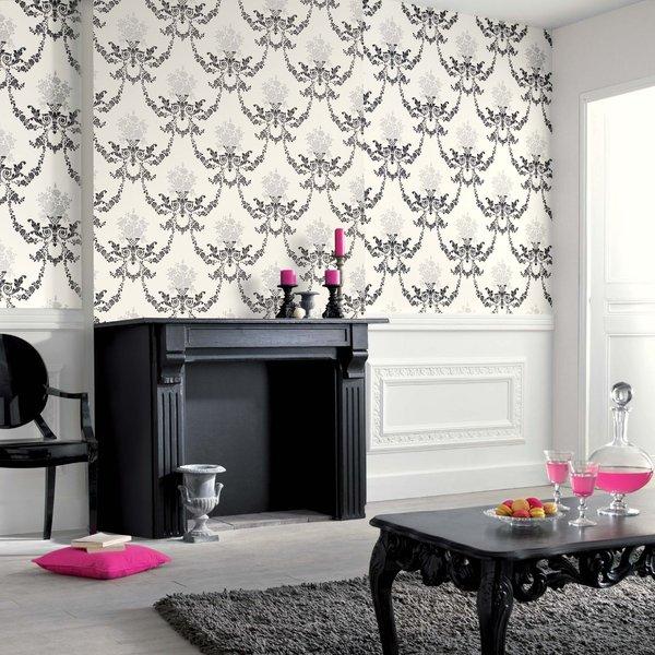 Papel pintado dibujo negro y gris sobre fondo blanco for Boutique del papel pintado
