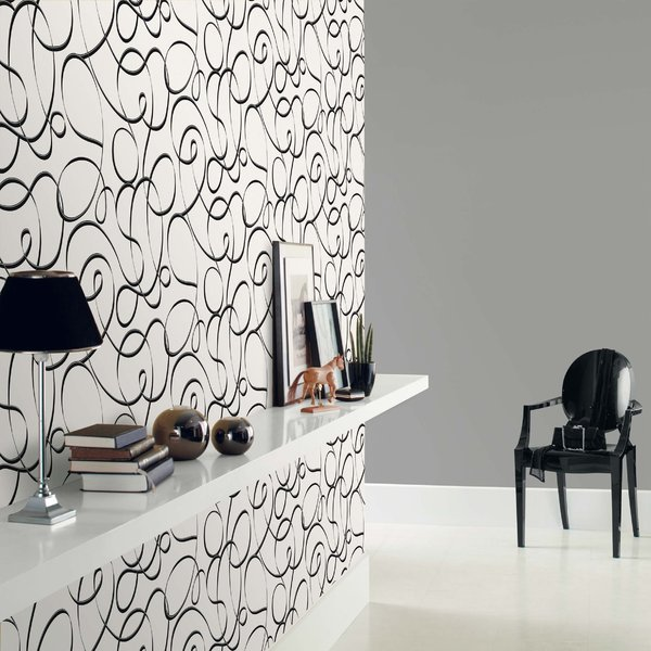 Papel pintado trazo liado negro y plata fondo blanco for Papel de pared blanco
