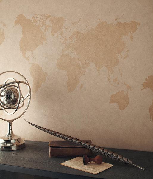 Papel pintado mapa mundo tonos gris boutique del papel - Papel pintado mapa ...