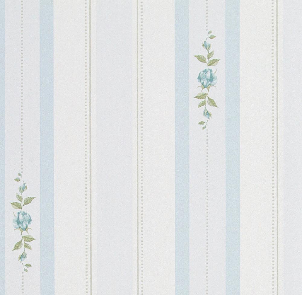 Papel pintado floral rayas william azul boutique del for Papel pintado azul