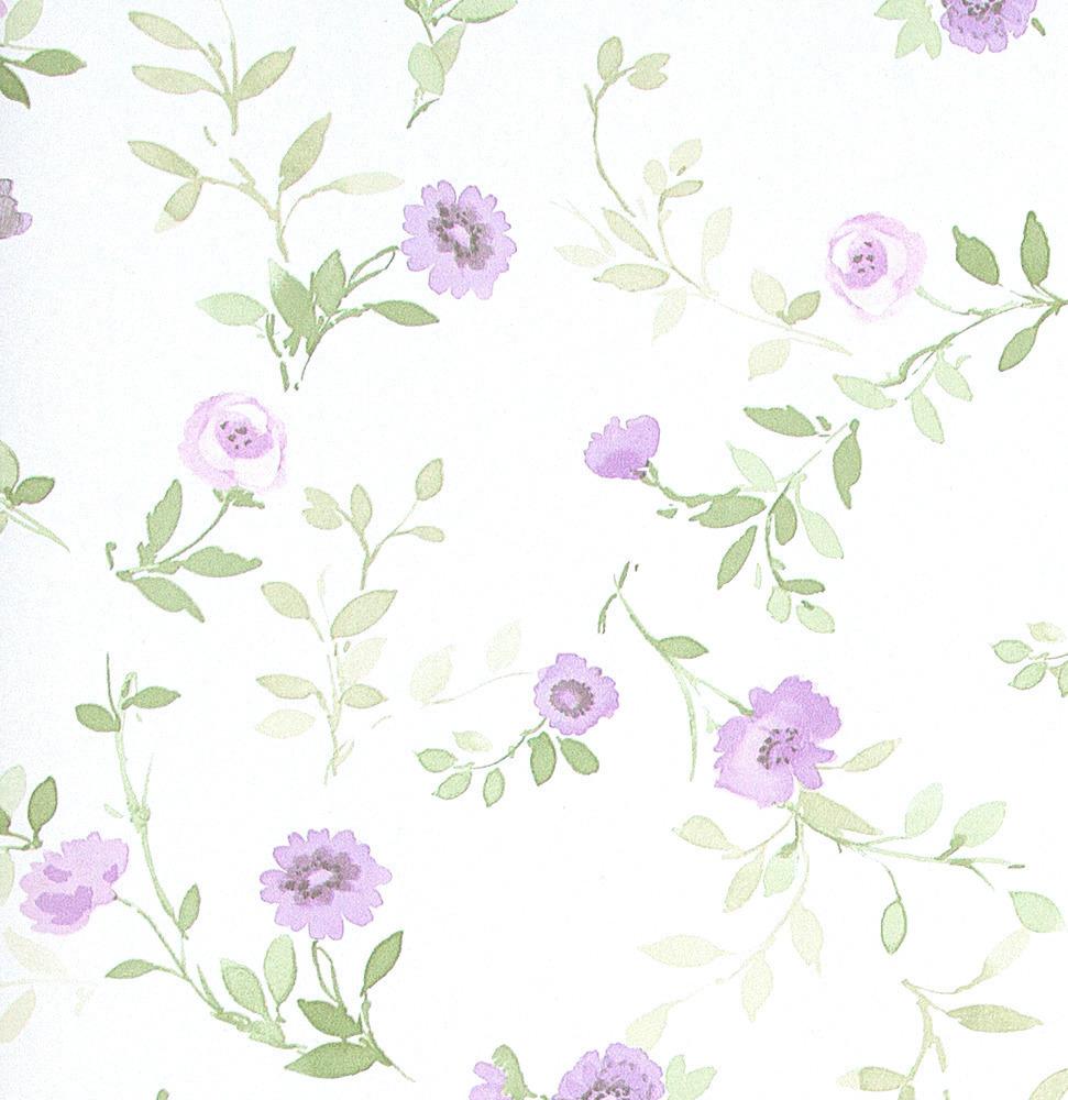 Papel pintado floral mallord morado boutique del papel - Papel pintado morado ...