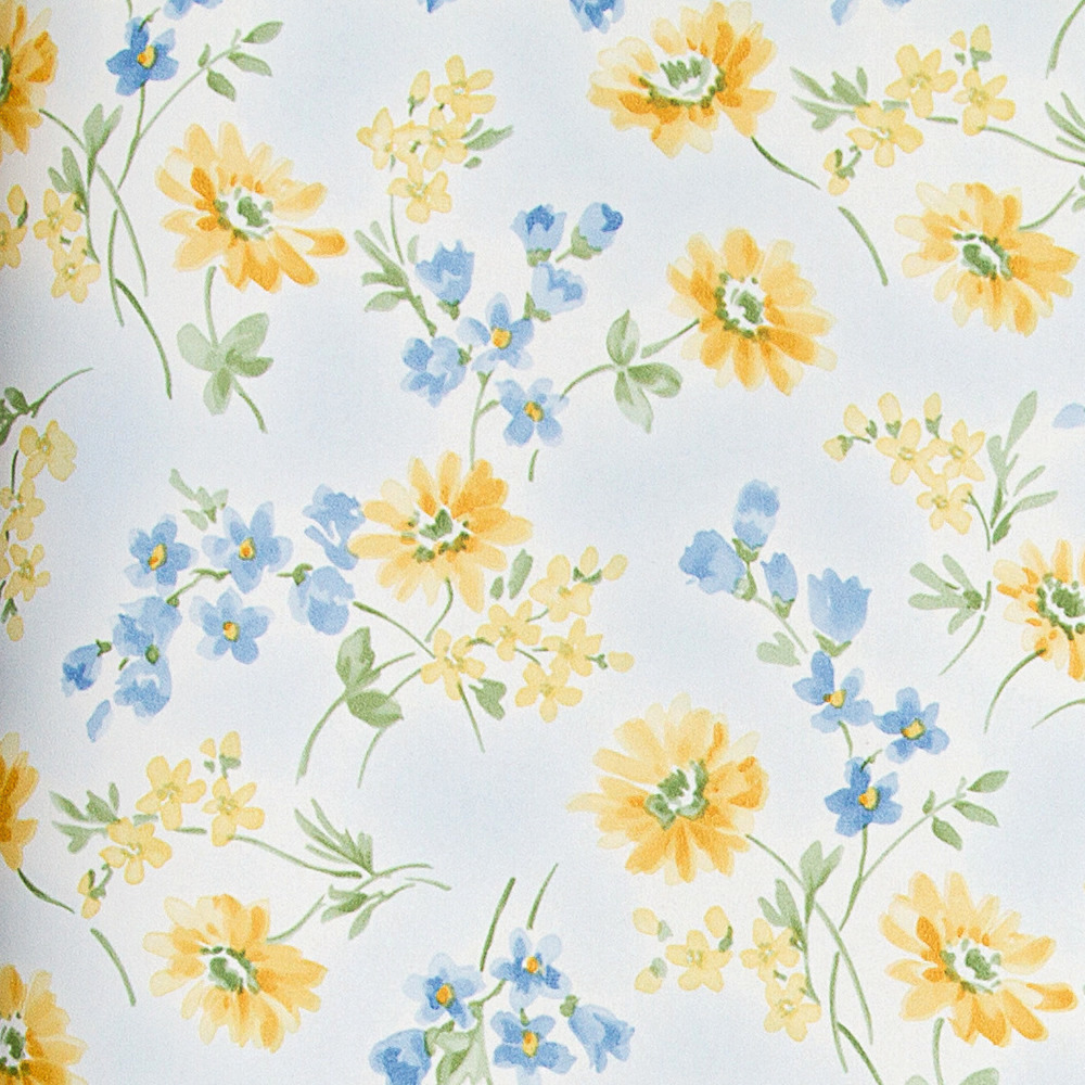 Papel pintado floral cervantes azul y amarillo boutique for Boutique del papel pintado