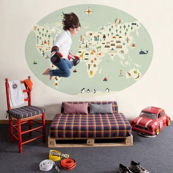 Mural mapamundi infantil boutique del papel pintado - Papel pintado mapamundi infantil ...