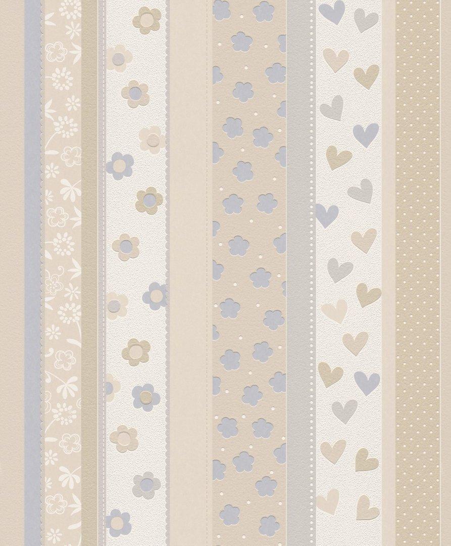 Papel pintado rayas con dibujos tonos beige y gris for Papel pintado tonos beige