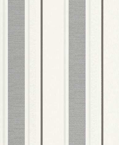 Papel pintado rayas blanco gris y plata boutique del - Papel pintado rayas gris y blanco ...