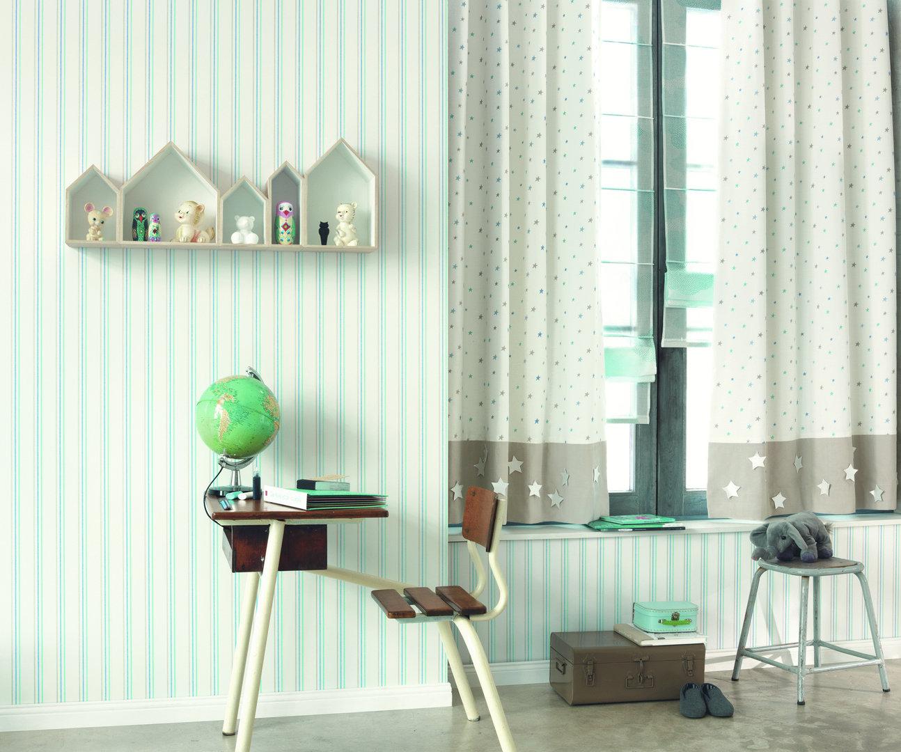 Papel pintado rayas turquesa amarillo y gris boutique - Papel pintado turquesa ...