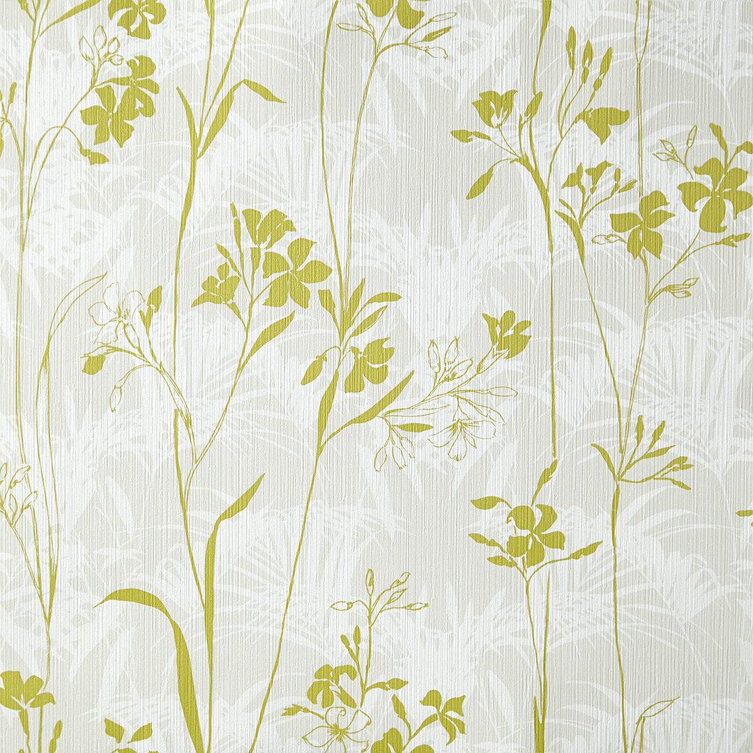 Papel pintado silueta flor verde fondo gris y blanco boutique del papel pintado - Papel pintado gris ...