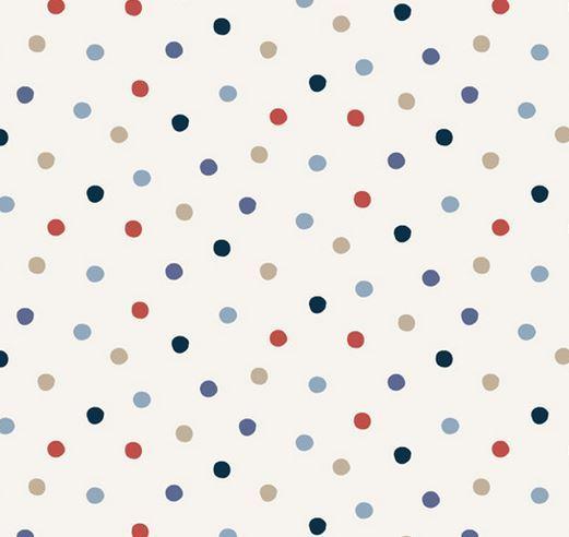papel pintado lunares azul rojo y gris