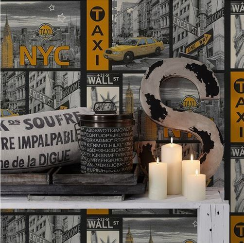 Papel pintado new york detalle amarillo boutique del - Papel pintado nueva york ...